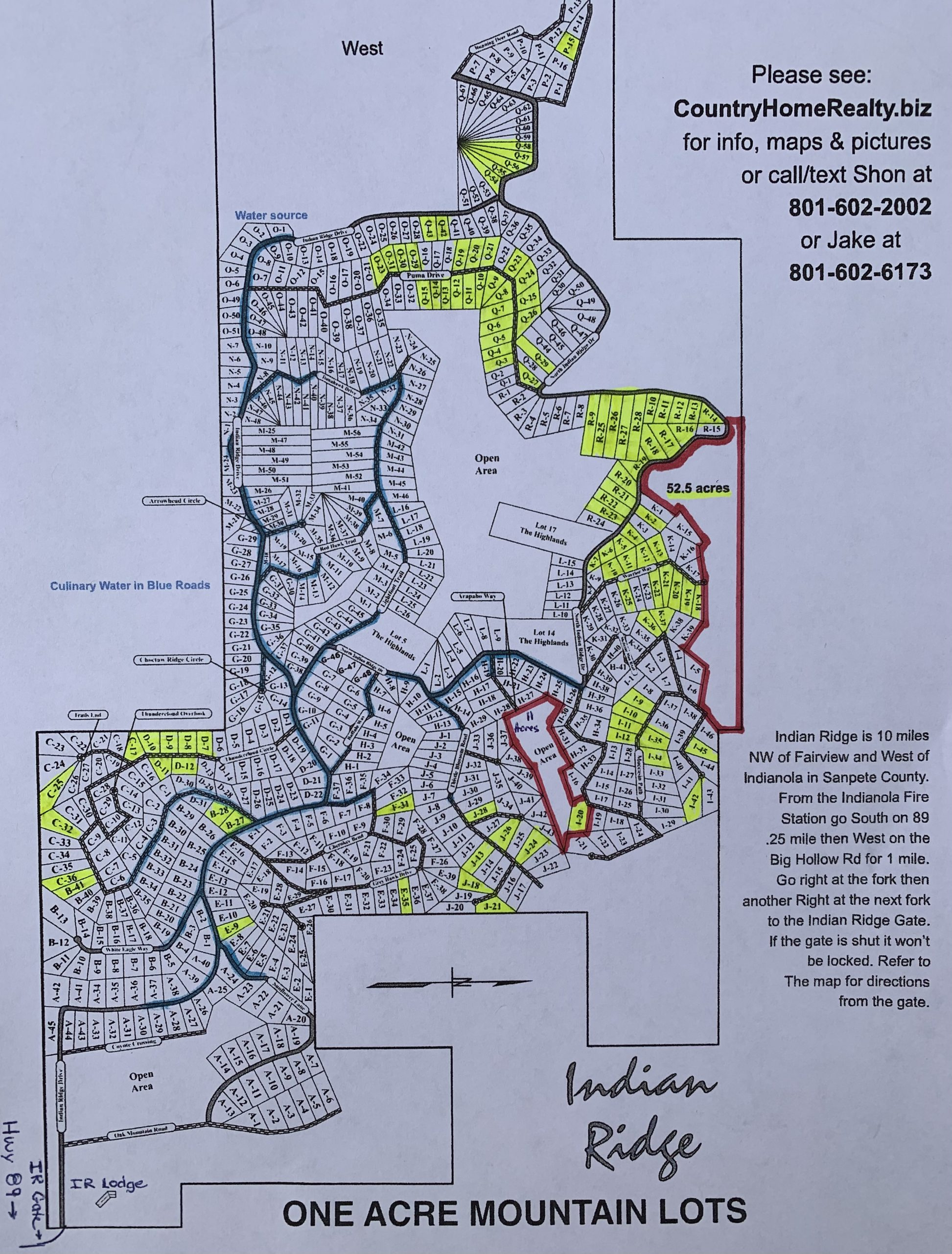 1 Acre Cabin, Home or Recreational Lots in Indian Ridge starting at $6,500 about 1 hour SE of Lehi.